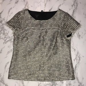 talbots metallic tweet expored zipper shirt size 4
